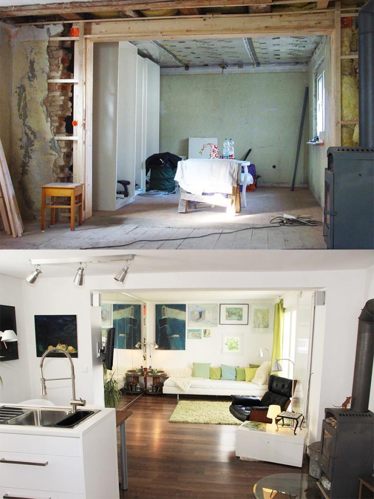 Vorher und nachher: Das Wohnzimmer wurde komplett renoviert