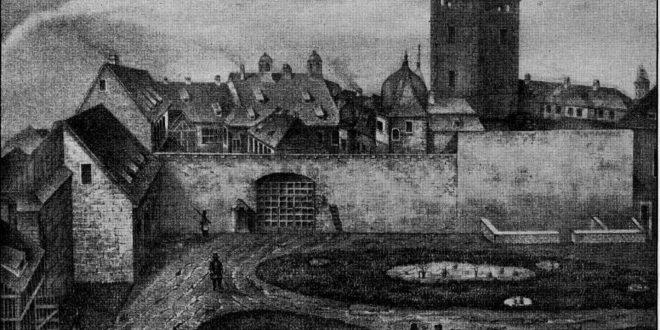 Zeichnung des alten Schlosses mit dem noch erhaltenen Torturm 1849
