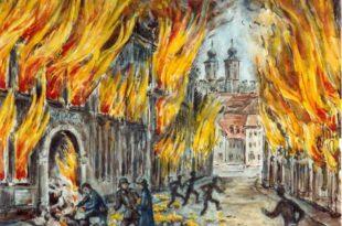 Zeichnung Marieluise Schneider | Bombenkrater | Bruchsal 1945