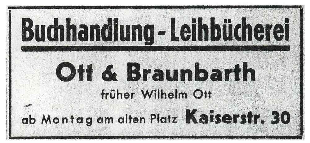 Anzeige 1950 | Buchhandlung Bruchsal