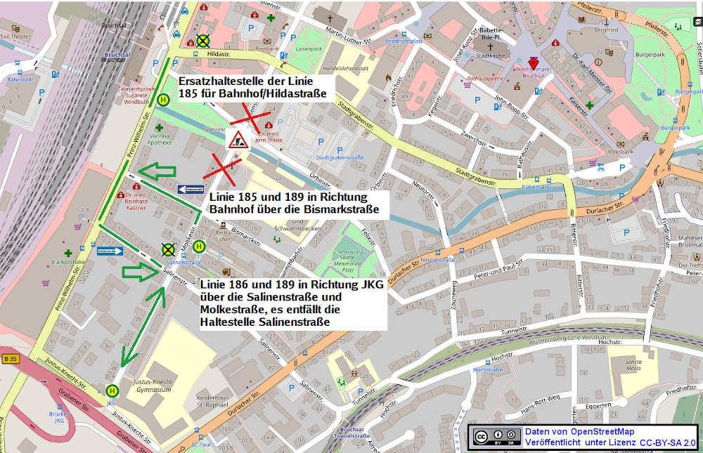 Umleitung Stadtbuslineien