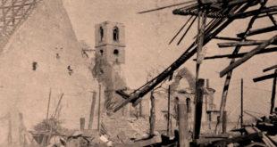 Zerstörte Pfarrkirche St. Bartholomäus nach dem Luftangriff auf Büchenau_cut
