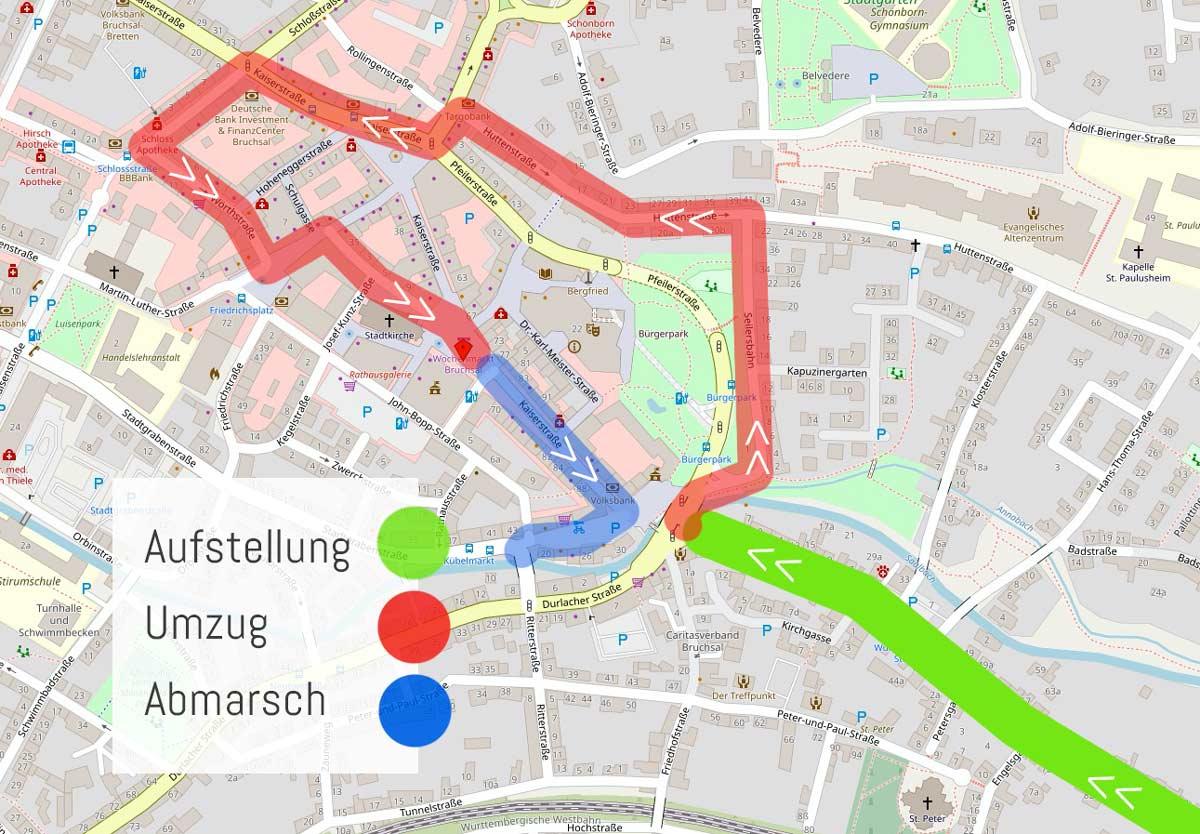 Plan DFasnachtsumzug Bruchsal