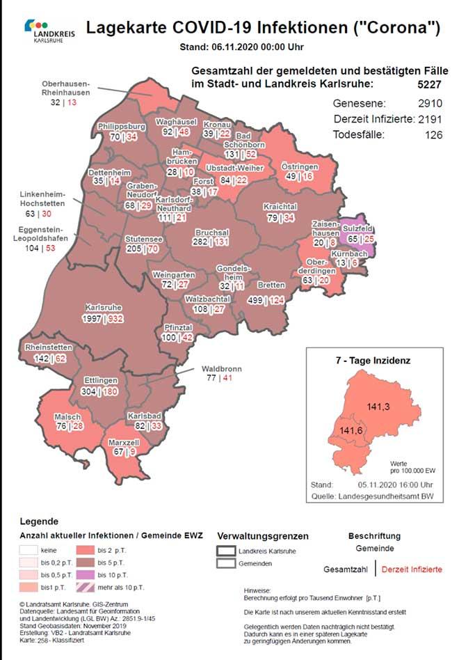 Aktuelle Fallzahlen Karlsruhe