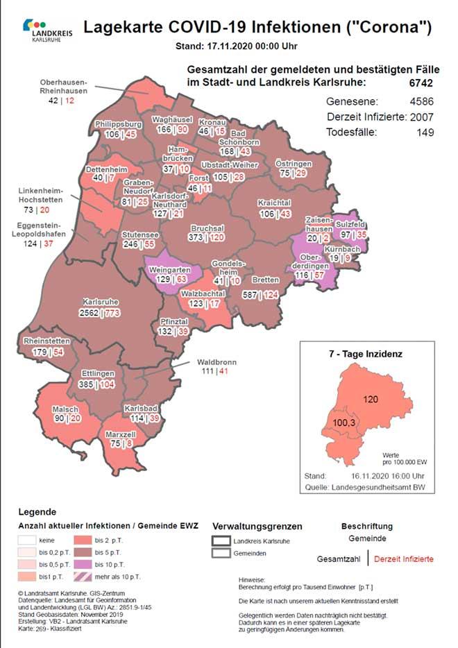 Lage Karte Corona Landkreis Karlsruhe