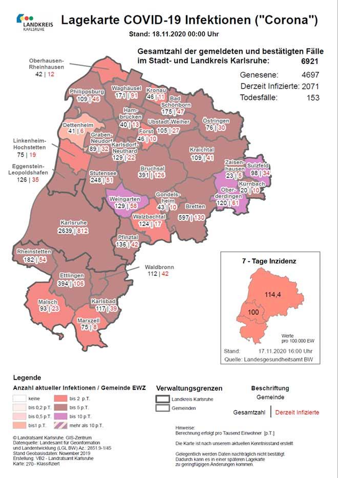 Fallzahlen Landkreis Karlsruhe